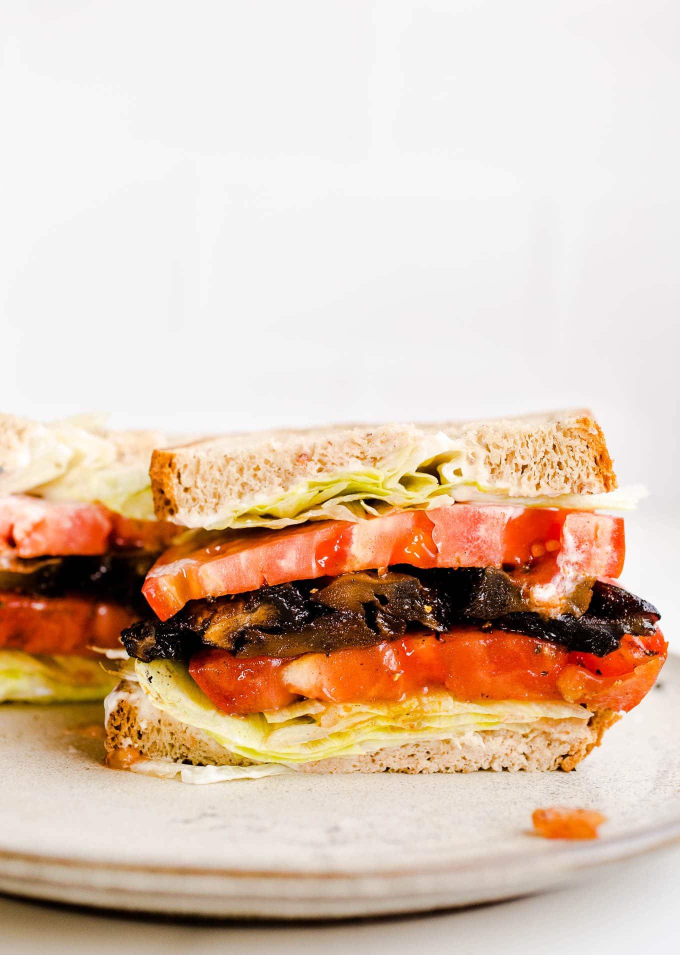 vegan blt sandwich on plate